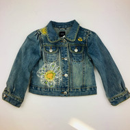 Baby Gap Light Denim Jacket with White Embroidered Daisies