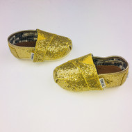 Tiny Toms Gold Shimmer Shoes