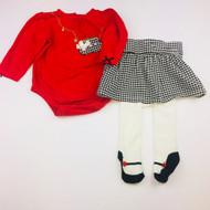 Vitamins Baby Red Bodysuit & Hounds Tooth Skirt Set