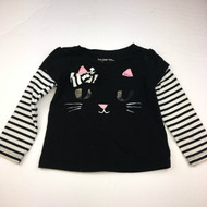 Baby Gap Black Cat Double Sleeve Top