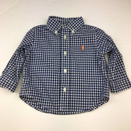 Ralph Lauren Navy & White Gingham Button Up Shirt