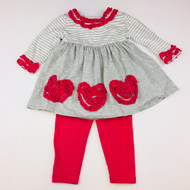 Bonnie Baby Grey & Magenta Heart Top & Leggings Set