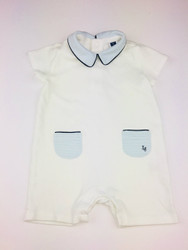 Janie & Jack White & Pale Blue Collared Shortall