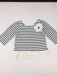Janie & Jack Black & White Stripe Peplum Top