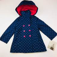 New! London Fog Navy & White Polka Dot Rain Jacket