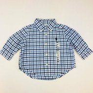 New! Ralph Lauren Light & Royal Blue Gingham Button Up Shirt