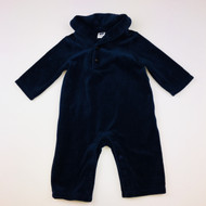Janie & Jack Navy Velour One Piece