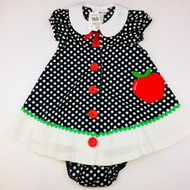 New! Bonnie Baby Black & White Polka Dot Apple Dress