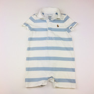 Ralph Lauren Light Blue & White Striped Collar Shortall