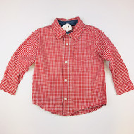 Gymboree Red & nWhite Checked Button Up Shirt