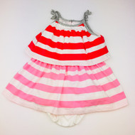 Baby Gap Red, Pink & White Striped Top Ruffle Dress