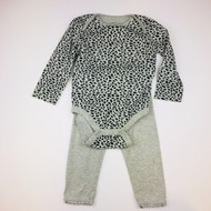 Baby Gap Black & Grey Cheetah  Top with Leggings Set