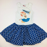 Gus & Lola Blue Pattern Skirt Cheerleader Dress
