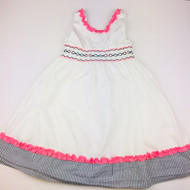 Hartstrings White with Navy & Pink Smocking Dress