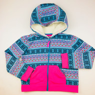 Hartstrings Blue & Pink Snowflake Hooded Zip Jacket
