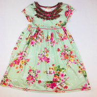 Pink Vanilla Green Floral Spring Dress