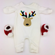 Baby Gap Reindeer Fleece One Piece with Red Knit Booties