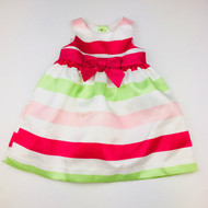 Gymboree Magenta, Green & White Striped Taffeta Dress