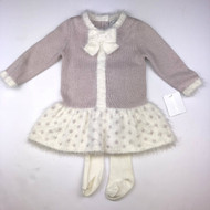 New with tags! Savannah Pink & Ivory Sparkle Dress & Tights