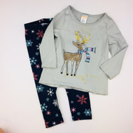 Gymboree Winter Reindeer Grey Top & Navy Snowflake Leggings