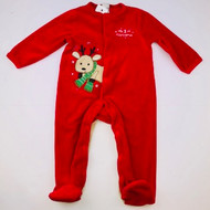 Little Me Red Fleece Reindeer Footed Sleeper
