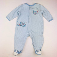 Little Me Light Blue Striped MVP Footed Sleeper