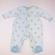 Little Me Blue  & White Stripe Teddy Bear Footed Sleeper