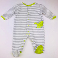 Little Me Grey, White & Lime Green Footed Dino Sleeper