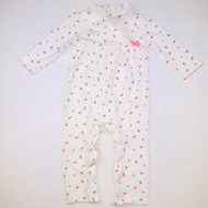 Janie & Jack White & Pink Rose Pattern Coverall & Lace Collar