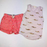 Crewcuts Godl Sparkle Gator Tank with Melon Striped Linen Shorts