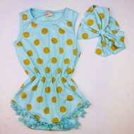 Cikoko Sea Foam & Gold Polka Dot Romper with Head wrap