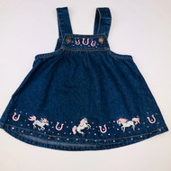 Baby Korral Pink Horse Shoe Denim Jumper Dress