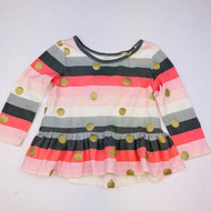 Baby Gap  Coral, Grey Stripe with Gold Polka Dot Peplum Top