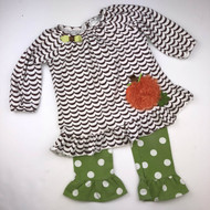 Emily Rose Brown, Orange & Green Pumpkin Two Piece Set