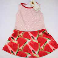 New! Little Angels Watermelon & Red Polka Dot Drop Waist Dress