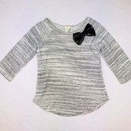 Lily Bleu Grey & White Stripe Knit Top with Black Sequin Bow