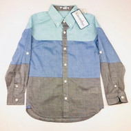 New! Kitestrings Green, Grey & Blue Color Block Button Up Shirt