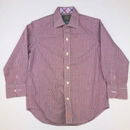 Thomas Dean Red, Navy & Blue Small Checked Button Up Shirt