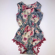 Bailey's Blossoms Mauve & Grey Rose Print Romper