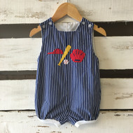 The Bailey Boys Striped Baseball Romper