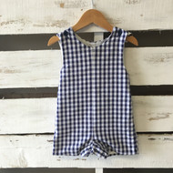 Kelly's Kids Blue & White Checked Romper