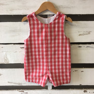Kelly's Kids Red & White Plaid Romper