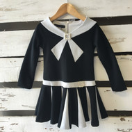 Biscotti Black & Ivory Pleated Sailor Dress