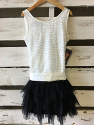 New!  Biscotti Black & Ivory Tiered Tulle and Sequin Dress