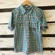 New!  3 Pommes Short Sleeve Plaid Shirt