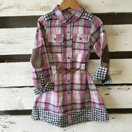 New!  Deux par Deux Pink & Grey Plaid Dress