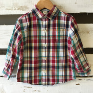 Janie & Jack  Burgundy Plaid Button Up Shirt