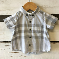 Burberry Grey Short Sleeve Button Up Shirt