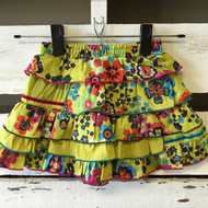 Catimini Green Floral Skirt with Flounces