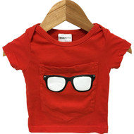 Trumpette Red 'Glasses' Pocket Tee